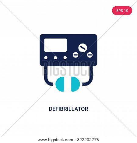 defibrillator icon in two color design style.