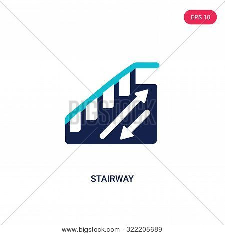 stairway icon in two color design style.