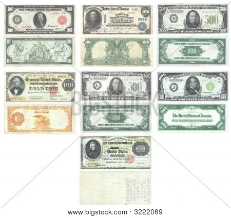 Set Of Old And Rare United States 100, 500, 1000, 10000 Dollar Banknotes