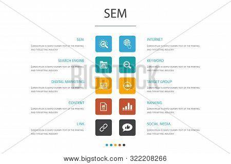 Sem Infographic 10 Option Concept.search Engine, Digital Marketing, Content, Internet Icons