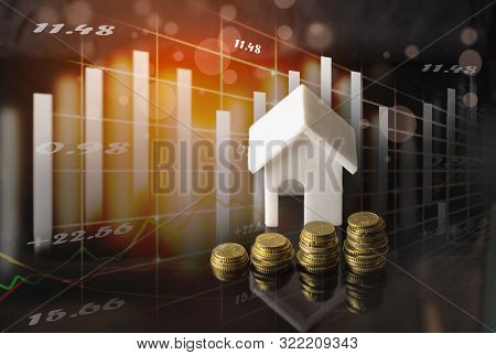 Stock Market Or Forex Trading Graph And Candlestick Chart Suitable For Real Estate Investment. Econo