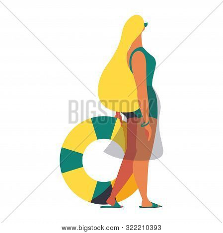 Young Blond Woman In Swimsuit Standing With Lifebuoy Staring At Something In The Sky. Flat Charatcer