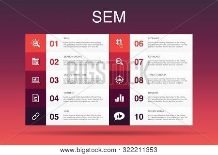Sem Infographic 10 Option Template. Search Engine, Digital Marketing, Content, Internet Icons