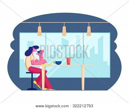 Young Woman Working On Laptop In Modern Restaurant Drinking Beverage. Female Character Visiting Cafe