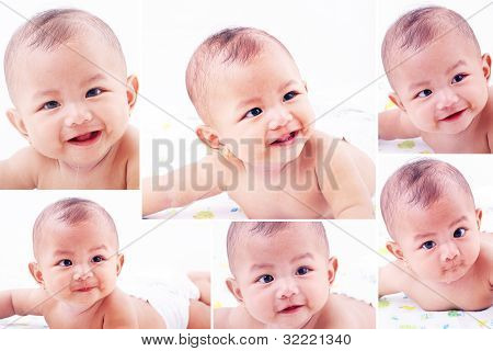 Collage Of Different Baby Expression Photos