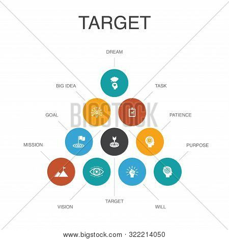 Target Infographic 10 Steps Concept. Big Idea, Task, Goal, Patience Icons