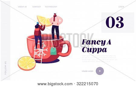 Hot Beverage For Cold Season Website Landing Page. Tiny Man And Woman Standing On Huge Cup With Hot