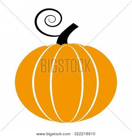 Pumpkin Flat Single Icon. Halloween Symbol Of Fear And Danger. Black Spooky Decorative Element. Vect