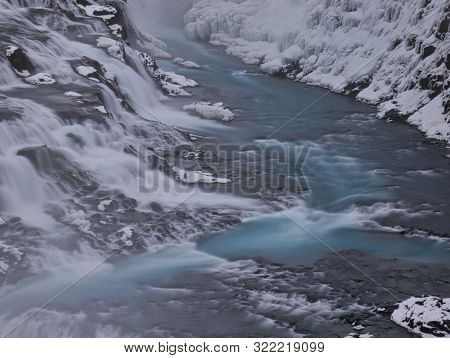 The Watercourse Of The Gullfoss Waterfall In Iceland With Snow