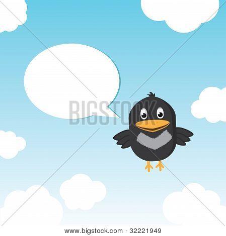 Funny Bird Twitting In The Sky