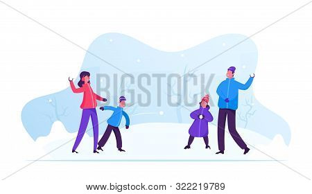 Young Happy Family Of Parents And Kids Playing Snowball Fight And Having Snow Fun In Winter Day. Che