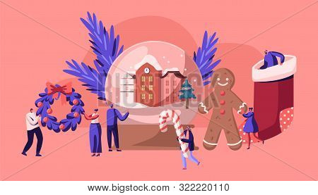 Christmas Holidays Celebration Concept With Tiny People Characters Decorate Home, Prepare Presents,