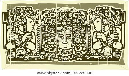 Mayan Triptych Woodcut B
