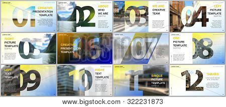 Minimal Presentations Design, Portfolio Vector Templates With Numbers. Easy To Edit And Customize. M