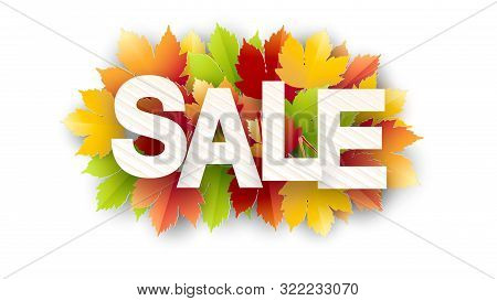 Banner For Sale Of Autumn With Colorful Seasonal Fall Leaves For Promotion Of Discounts. The Autumn