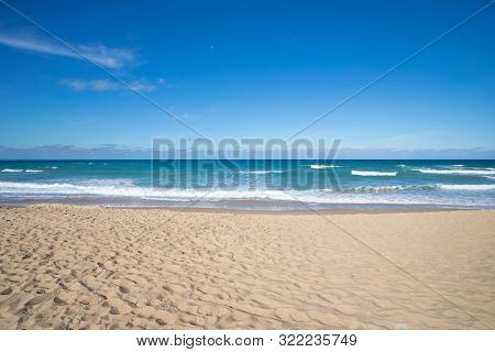 Front View Of Seashore Of Sandy Beach Of Palmar In Cadiz