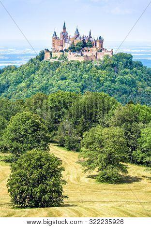 Hohenzollern Castle On Mountain Top, Germany. This Fairytale Castle Is Famous Landmark In Stuttgart