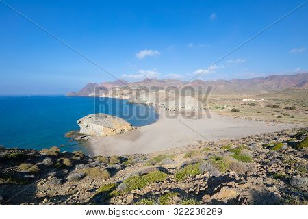 Lonely Monsul Beach From Top Of The Mountain In Cabo De Gata Natural Park