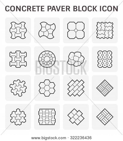 Concrete Paver Block Brick Floor For Landscaping Graphic Design Element.