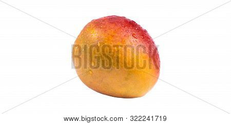 Mango Fruit With Water Drops Isolated On White Background.  Mango Isolated On A White Background Wit