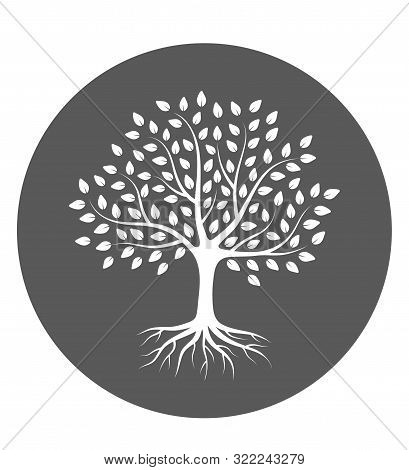 Silhouette Of A Tree With Roots And Leaves In Circle. White Color On Gray Background. Vector Illustr