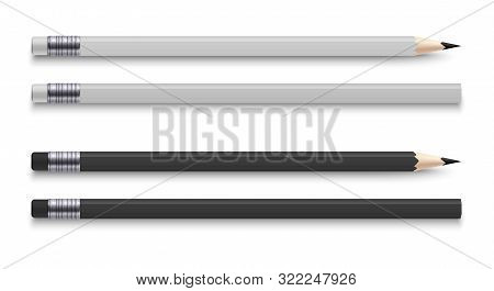 Realistic Pencils With Eraser. Sharpened Wooden Black And White Colour Graphite Sharpened Pencil. Ve
