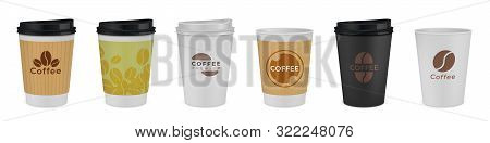 Realistic Paper Coffee Cup. Black, White, Brown 3d Mockup Template With Branding, Hot Drink Containe