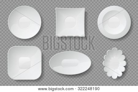 Realistic Food Plates. White Empty Dishes And Bowls For Cafe And Restaurants, Ceramic Glass Or Porce