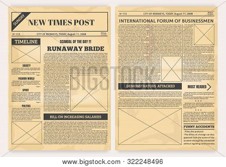 Vintage Newspaper. Old Realistic Pages With Headers And Place For Pictures, Retro Article Layout. Ve