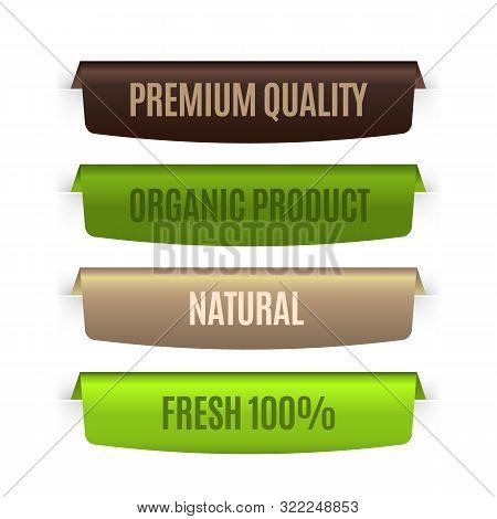 Organic Natural Labels. Eco Banners Template. Vector Bio Badges Set For Concept Premium Guarantee Ec