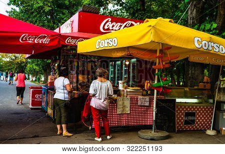 People Buying Goods From A Shop In King Mihai I Park (herastrau Park) In Bucharest, Romania, 2019.