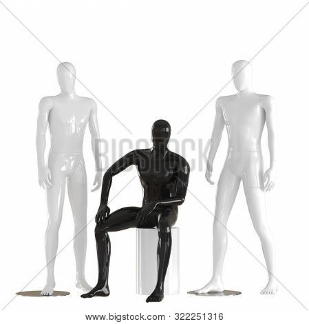 One Black, Faceless Mannequin Guy Sits On A White Box And Two White Mannequin Guys Stand On Each Sid