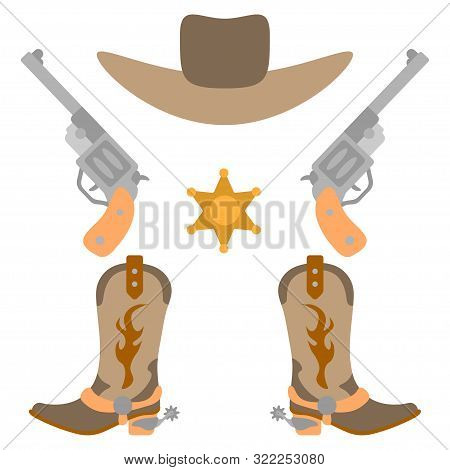 Vector Illustration Color Icon Set Simplified Leather Cowboy Boots And Hat, Sheriff Star, Revolvers.