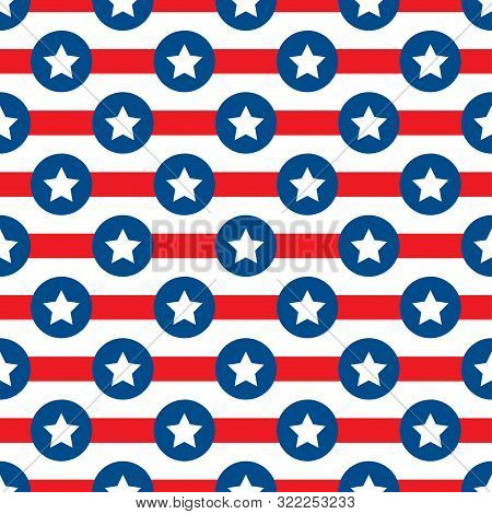 Vector Seamless Color Pattern With Simplified Usa Flag Simbol. Stars And Stripes Symbolic Textile Or