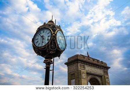Public Clock In King Mihai I Park (herastrau Park) In Bucharest, Romania, 2019.