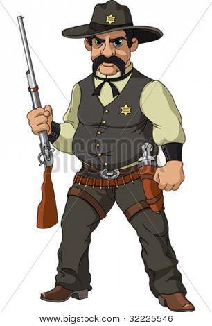 Wild west.  Cartoon sheriff with shotgun