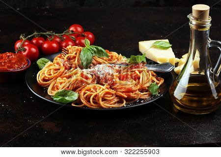Plate Of Delicious Spaghetti Bolognaise Or Bolognese With Savory Minced Beef And Tomato Sauce Garnis