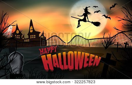 Halloween Background Glow. Young Witch Flying On A Broomstick On The Background Of A Full Moon Over