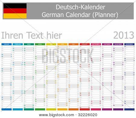 2013 Type-1 German year planner vertical months