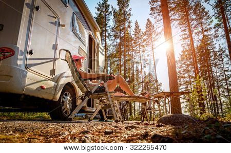 Family vacation travel RV, holiday trip in motorhome, Caravan car Vacation.