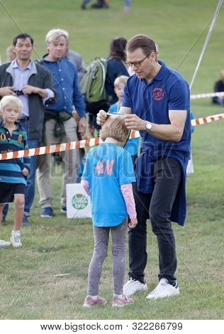 Stockholm - Sept 08, 2019: Proud Kids Getting Their Medals From Prins Daniel  After The Prins Daniel
