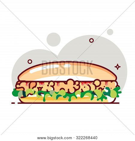 Big Sandwich With Tomato Paste, Chicken Cutlet And Salad. Flat Cartoon Style. Isolated Fast Food Ico