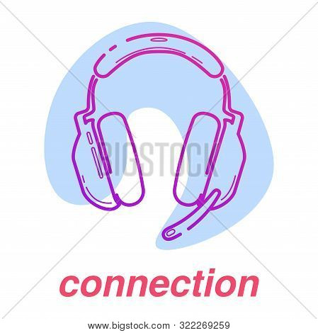 game connection icon, esports skills, vector line concept with headphones on isolated background with color spot poster