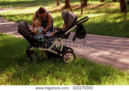 Woman And Stroller For Twins. A Beautiful Woman In A Park Seats Two Children Up To A Year In A Strol