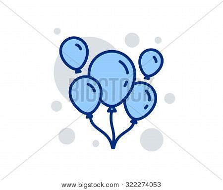 Balloons Line Icon. Amusement Park Or Birthday Party Sign. Linear Design Sign. Colorful Balloons Ico