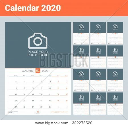Calendar For 2020. Wall Calendar Planner With Place For Photo. Vector Design Print Template. Week St