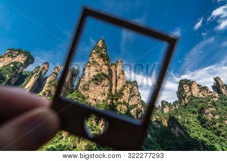 The Gathering Of Heavenly Soldiers Scenic Rock Formations In A Frame, Avatar Mountains Nature Park,