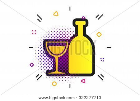 Alcohol Sign Icon. Halftone Dots Pattern. Drink Symbol. Bottle With Glass. Classic Flat Alcohol Icon