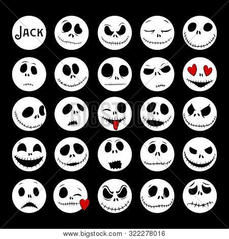 Vector Collection Of Halloween Faces. The Nightmare Before Christmas. Halloween Jack Faces Silhouett