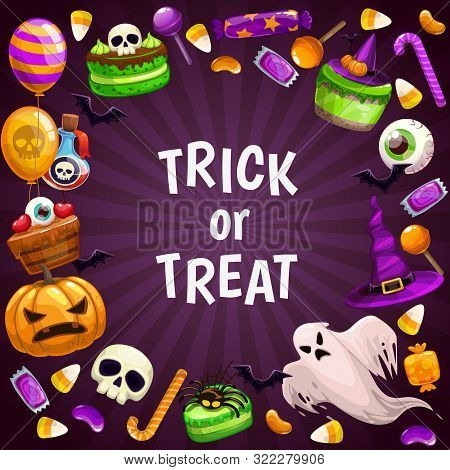 Trick Or Treat Background. Spooky Helloween Attributes.